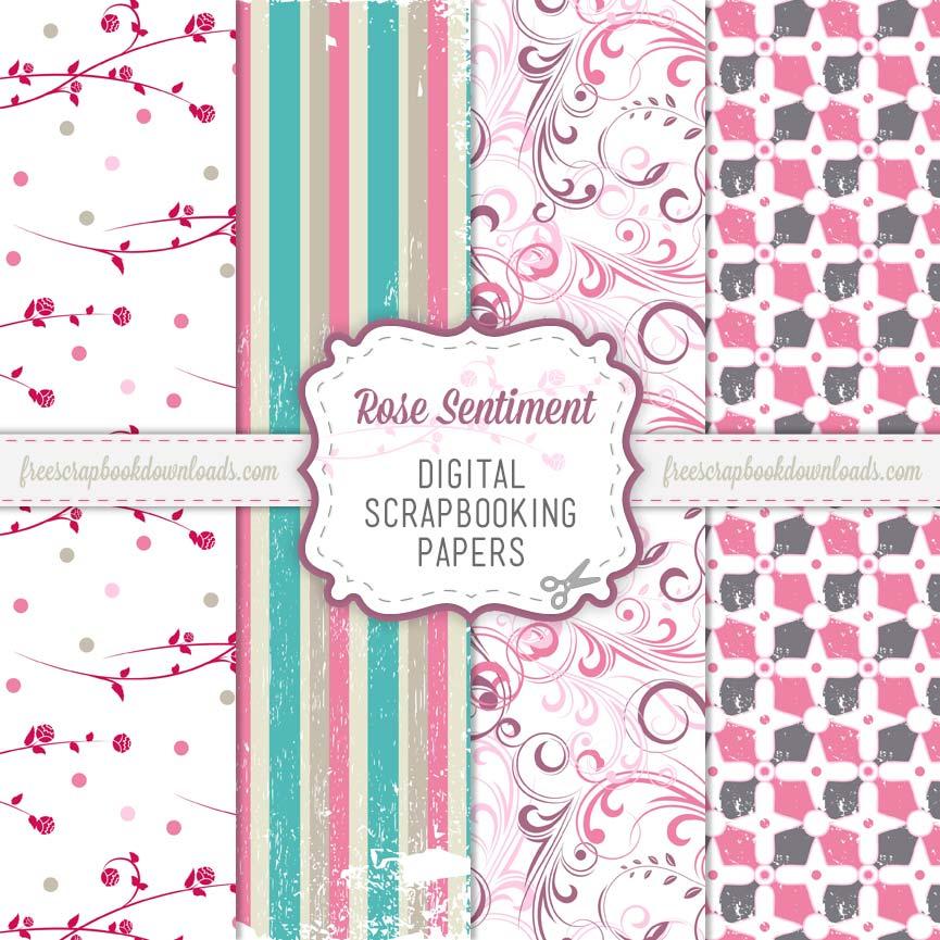 Free Digital Pink Romantic Scrapbooking Paper Pack
