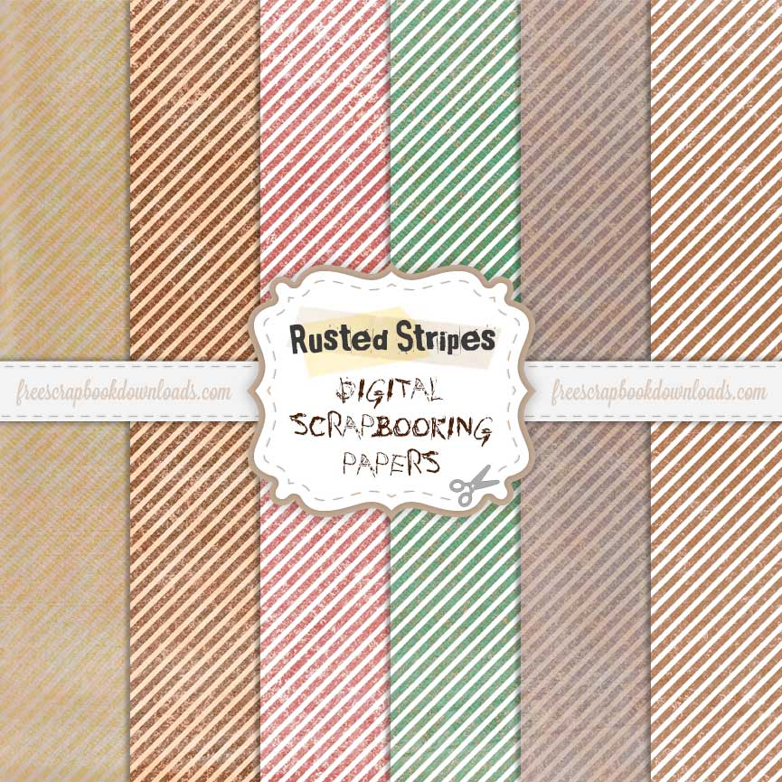 free digital grunge striped scrapbook papers
