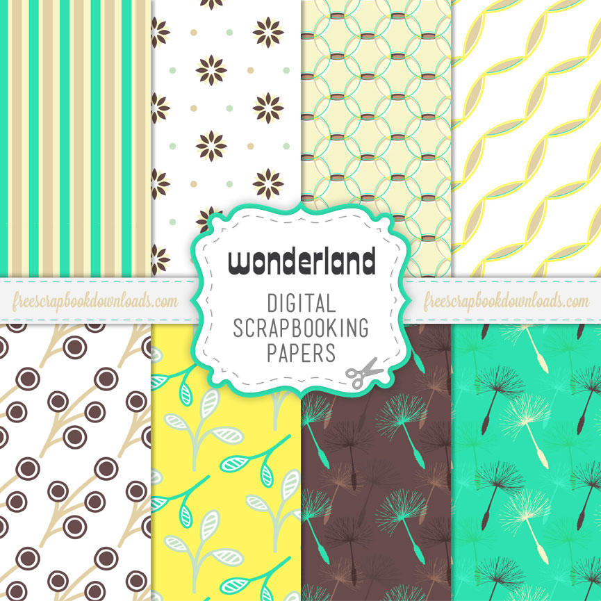 Wonderland Free Scrapbook Paper Pack Thumbnail