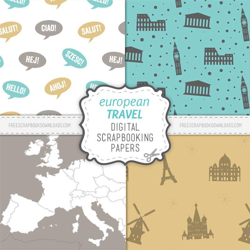 European Scrapbook Travel Paper Set