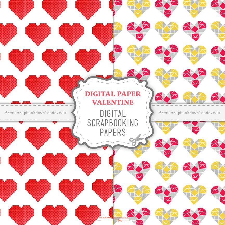 Digital Paper Valentine Scrapbook Papers