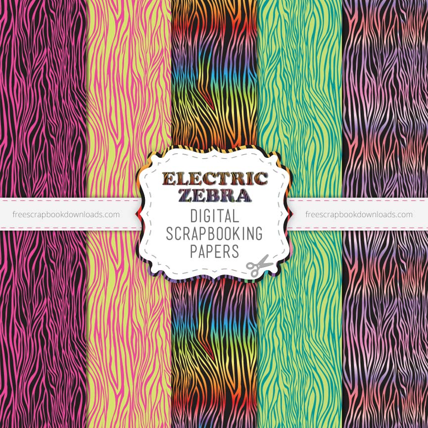 Electric Fluorescent Zebra Scrapbook Papers