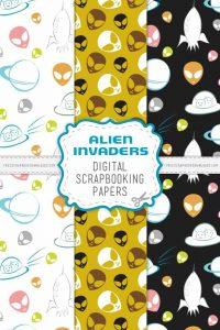 Alien Invasion Digital Scrapbook Papers