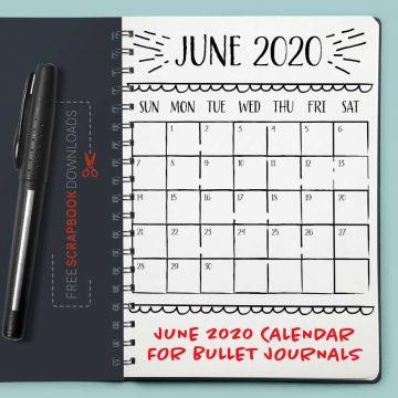 June 2020 Bullet Journal Calendar