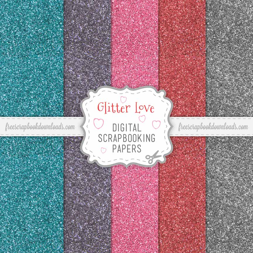 valentine u0026 39 s day glitter scrapbook papers to download