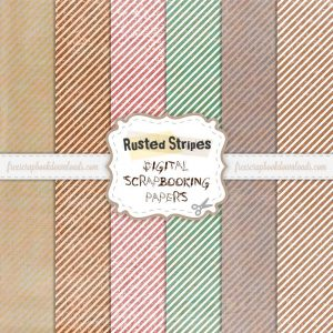 Rusted Stripes Free Scrapbook Paper Pack Thumbnail