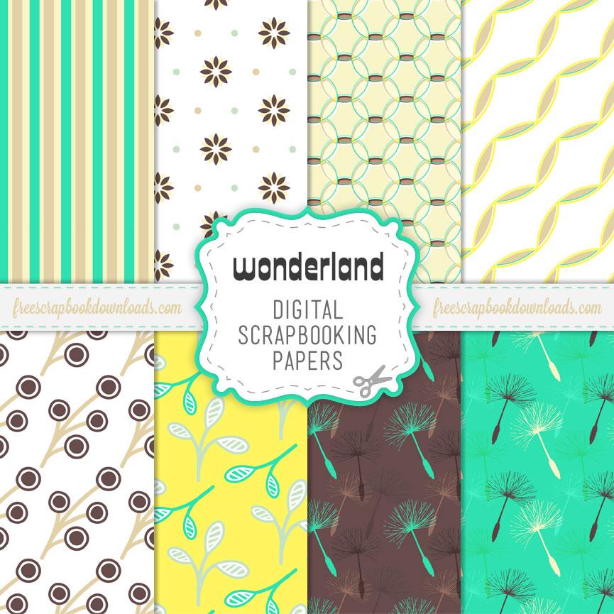 Wonderland Free Scrapbook Paper Pack Thumbnail