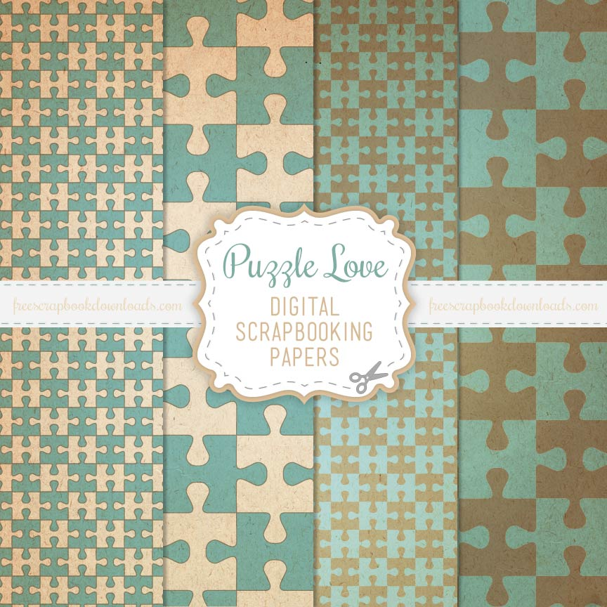 Puzzle Love Scrapbooking Papers Thumbnail