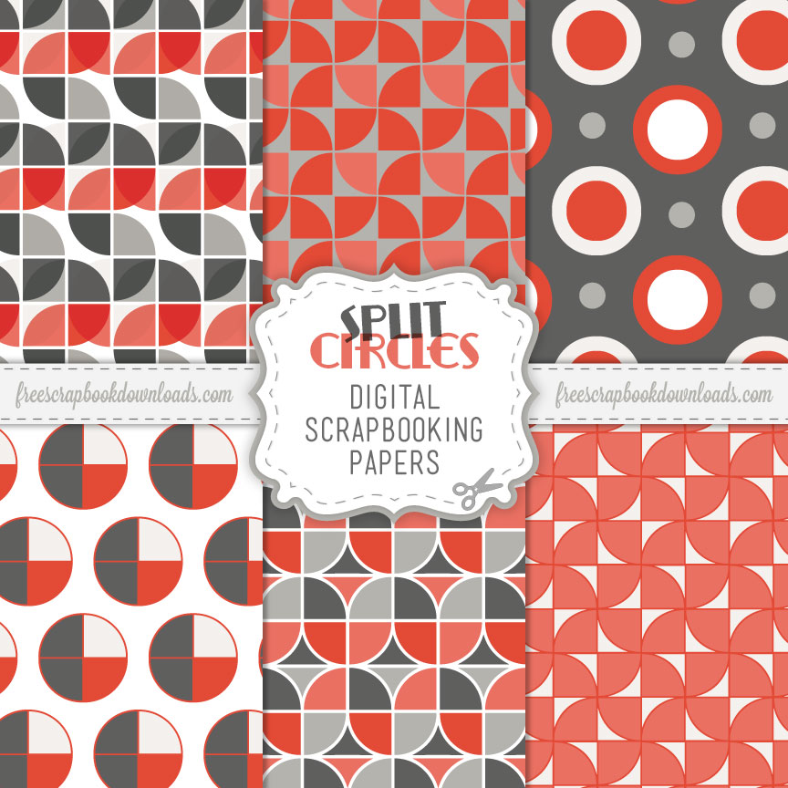 Split Circles Retro Mod Scrapbook Papers Thumbnail