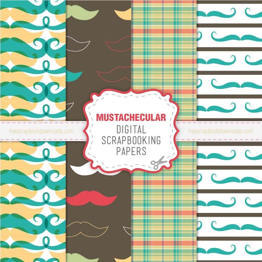 Mustachecular Mustache Scrapbook Paper