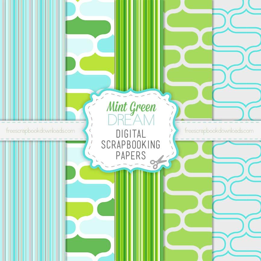 Blue and Green Scrapbook Paper Set