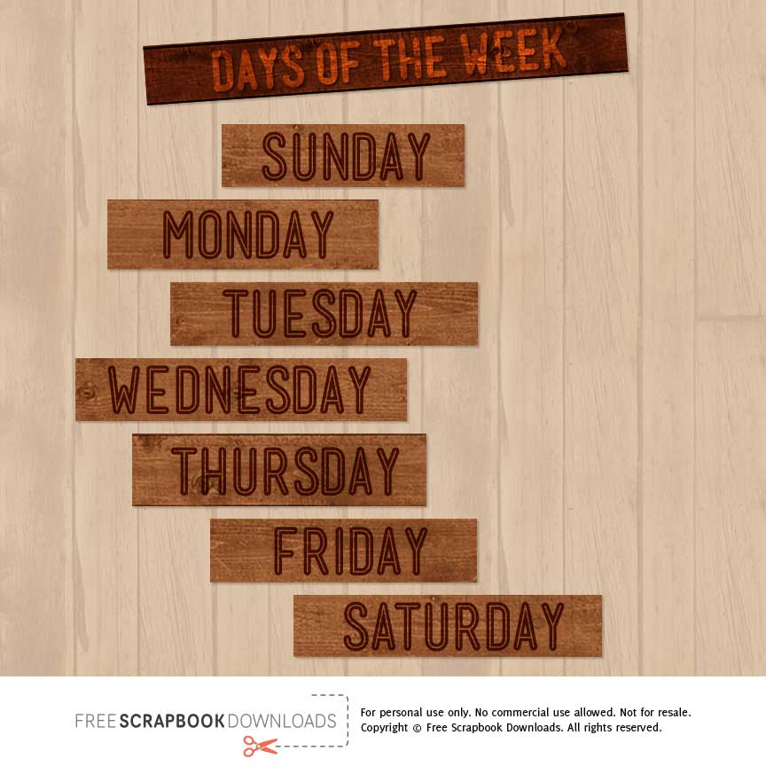 Days Of The Week Wood Scrapbook Labels Free Scrapbook