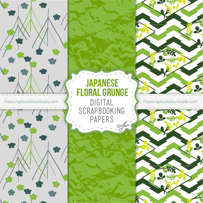 Japanese Floral Grunge Scrapbooking Papers