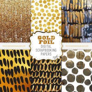 Gold Foil Digital Scrapbook Papers