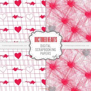Doctored Hearts Scrapbook Papers