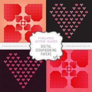 Pixelated Vector Hearts Scrapbook Papers