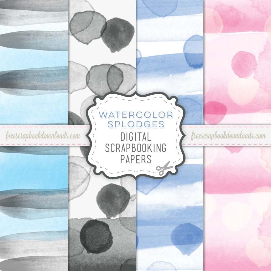 Watercolor scrapbook papers