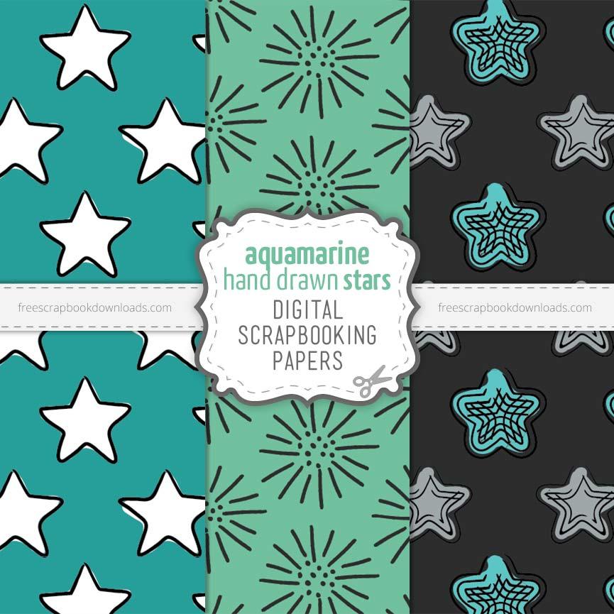 Starry Aqua scrapbook paper