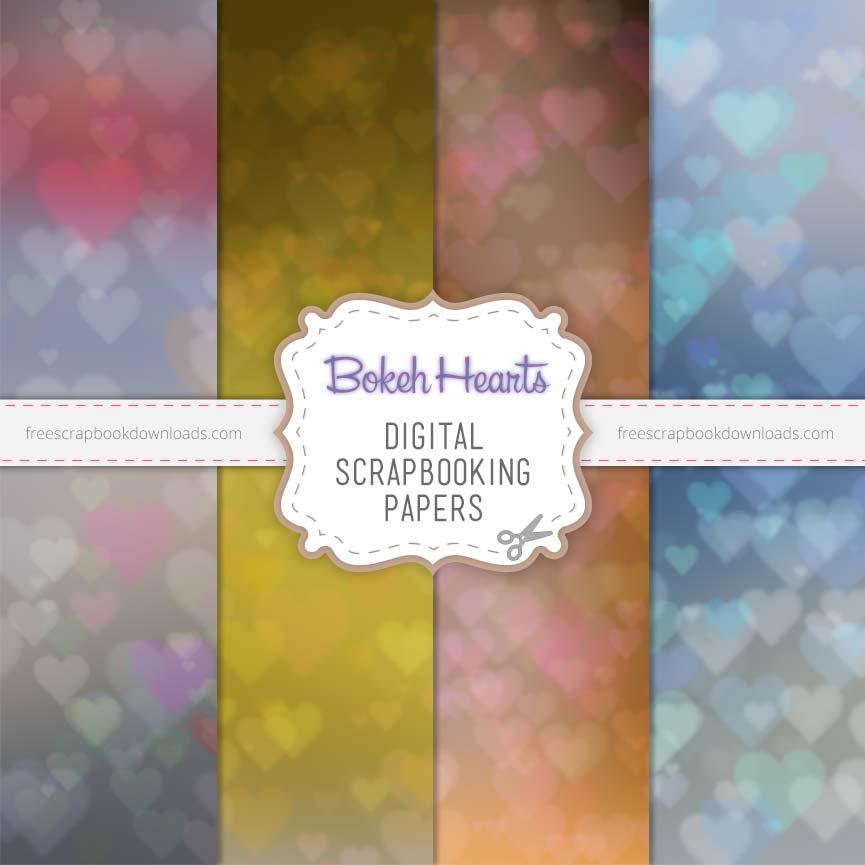 Bokeh Hearts Scrapbook Papers