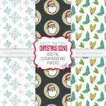 Retro Christmas Icons Scrapbooking Paper