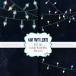 Navy Fairy Lights Digital Scrapbook Papers