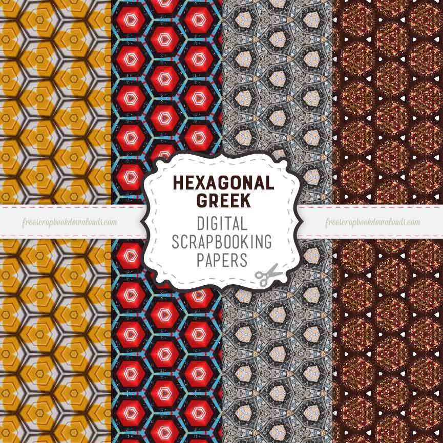 Greek Hexagonal Digital Scrapbook Papers