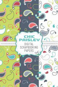 Chic Paisley Digital Scrapbook Papers