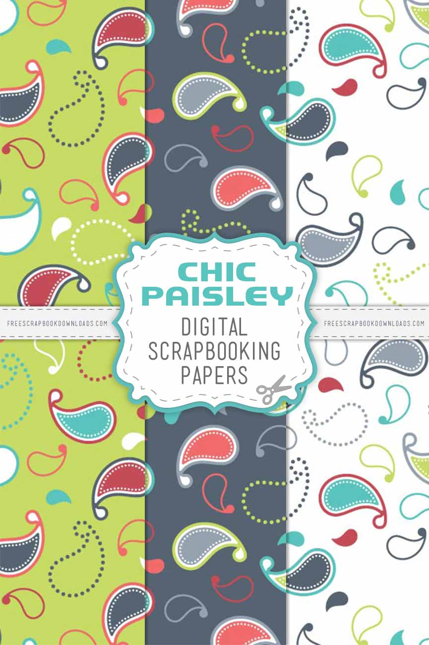 Chic Paisley Digital Scrapbook Papers