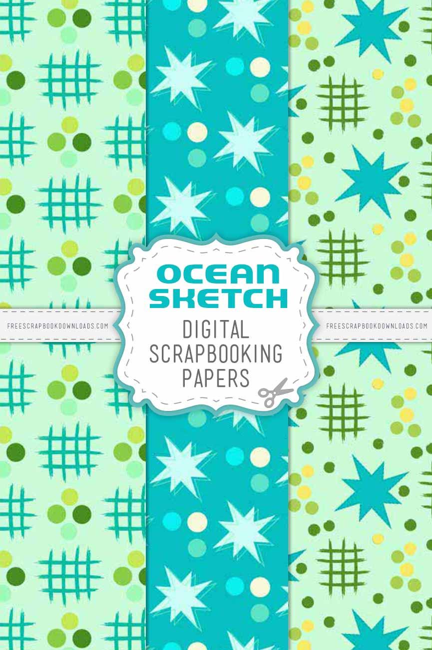 Ocean Sketch Scrapbook Papers