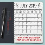 July 2019 Bullet Journal Calendar