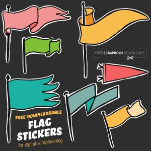 Free Digital Scrapbooking banner and Flag Stickers
